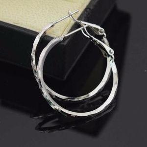 """18K White Gold Filled Hoop Earrings 30mm or 1.18"""""""